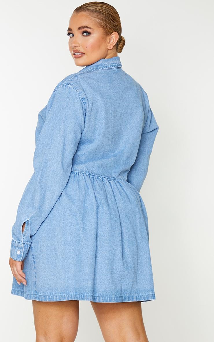 Plus Light Blue Wash Denim Frill Hem Shift Dress 2