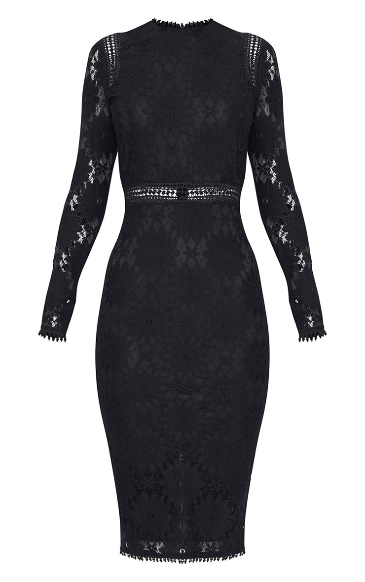Caris Black Long Sleeve Lace Bodycon Dress 3