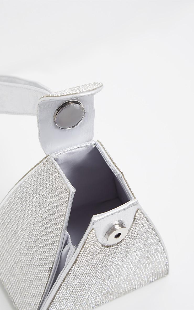 Silver Diamante Pyramid Mini Bag 5