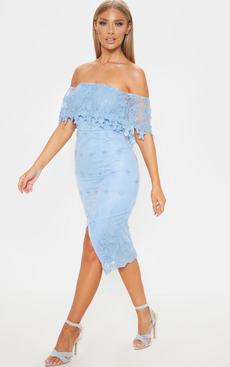 Dusty Blue Lace Bardot Bodycon Midi Dress 4