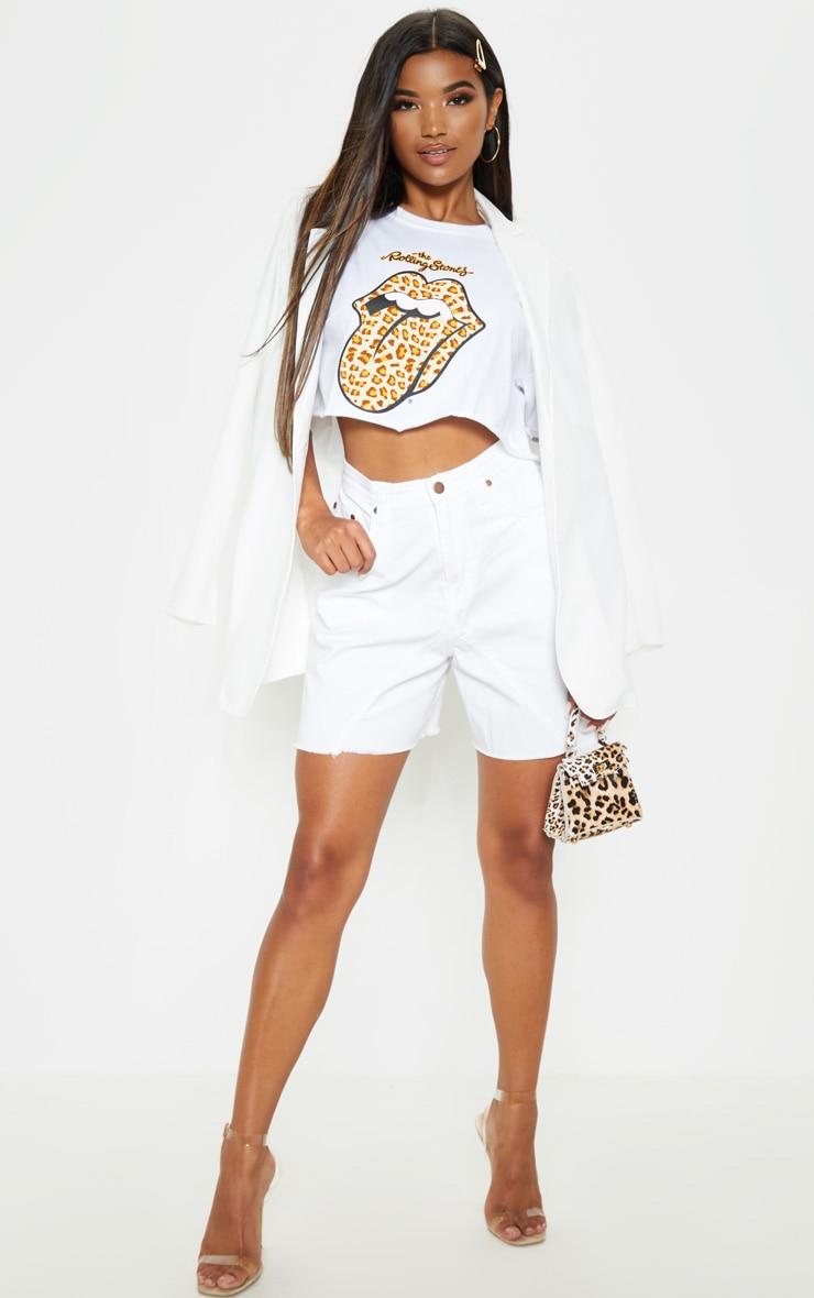 White Longline Denim Shorts 5