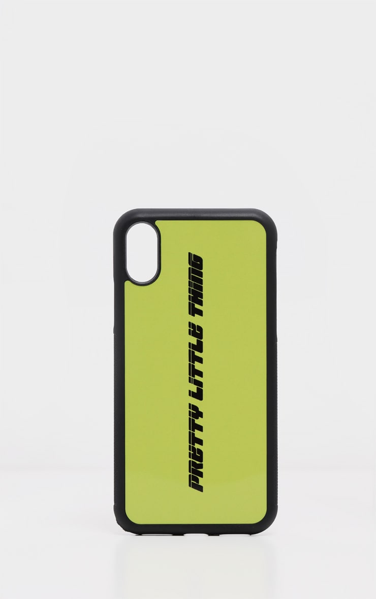 PRETTYLITTLETHING Neon Lime Logo 10/X/XS iPhone Case  2