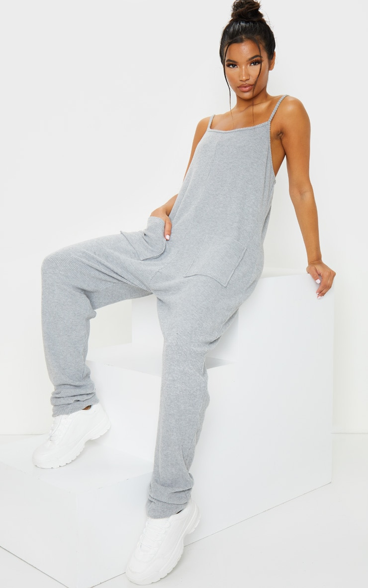 Grey Brushed Rib Strappy Pocket Jumpsuit 1