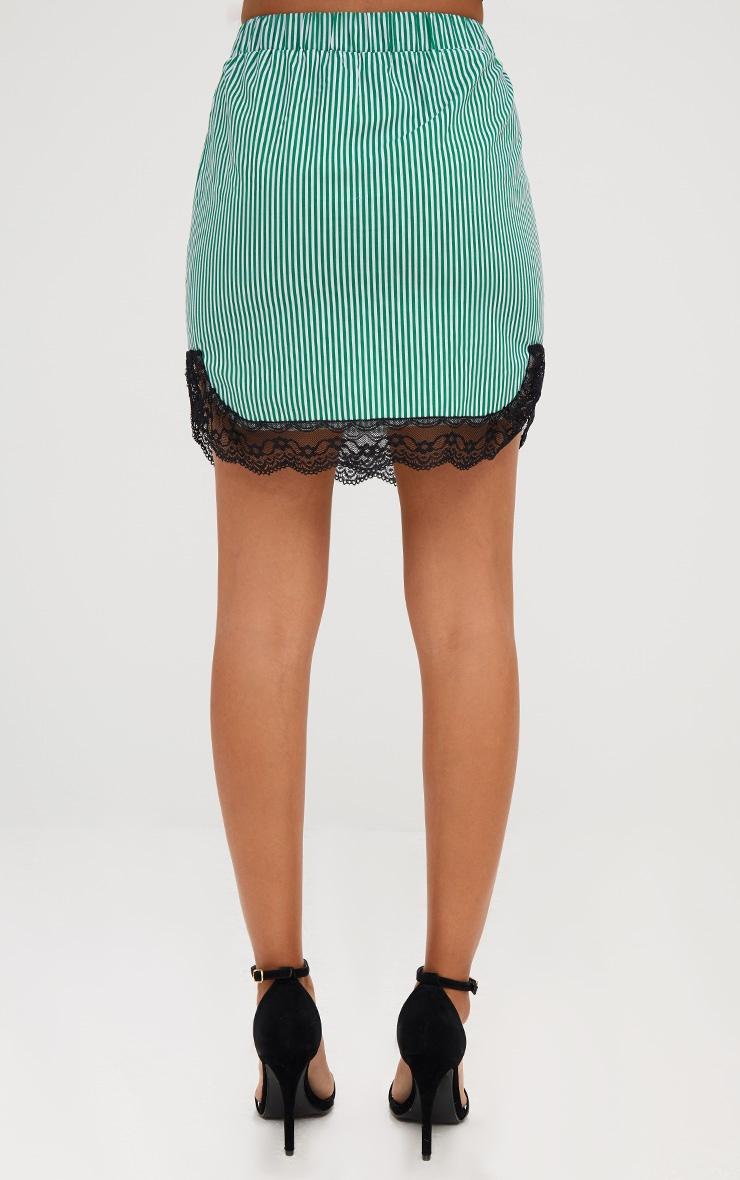 Green Pinstripe Lace Trim Mini Skirt 3