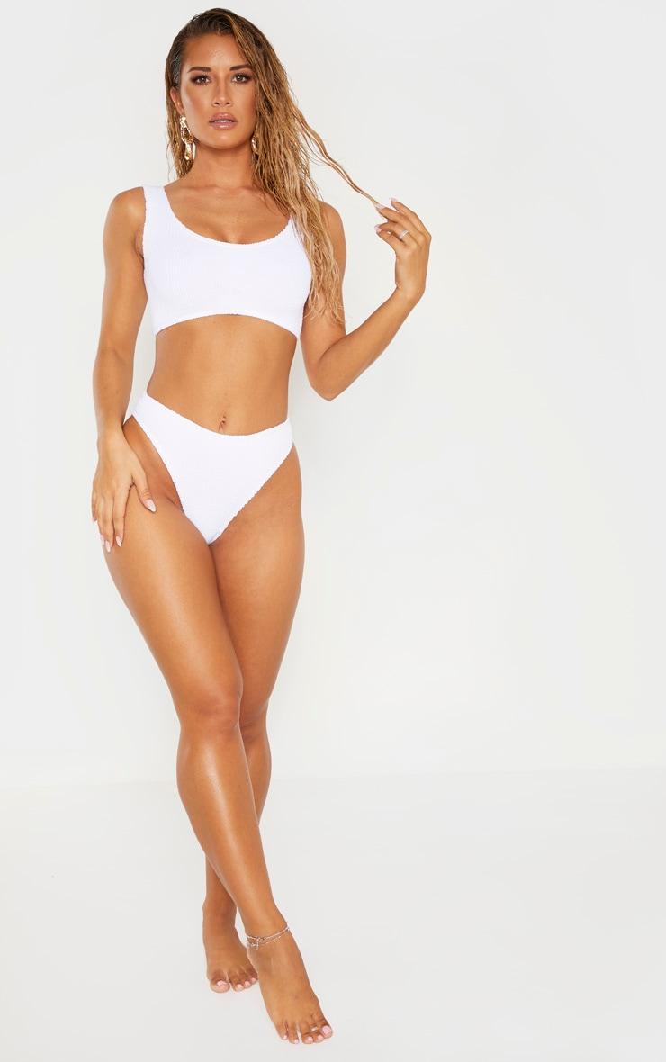 White Crinkle Cheeky Bum Bikini Bottom 4