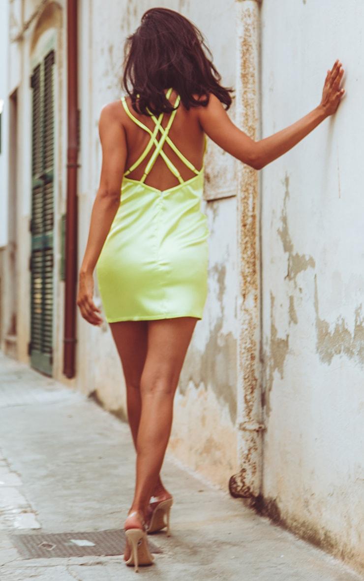 Lime Satin Strap Detail Shift Dress 1