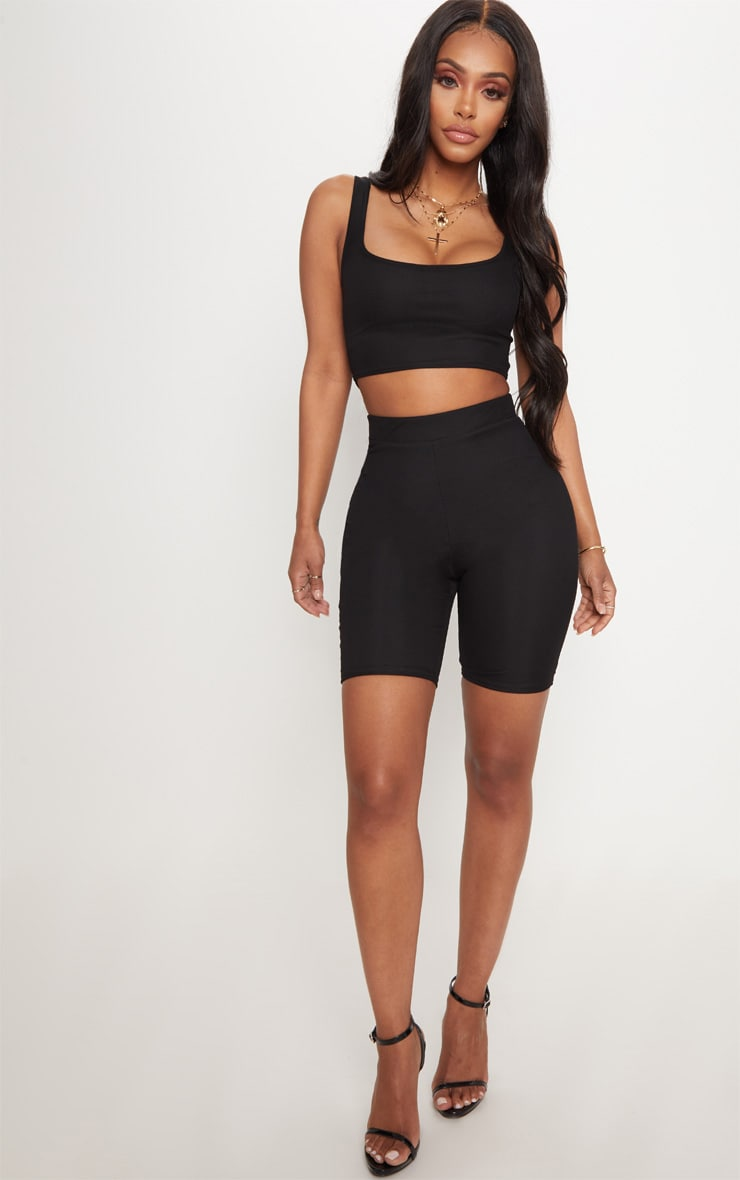 Shape Black Mesh Scoop Neck Crop Top  4