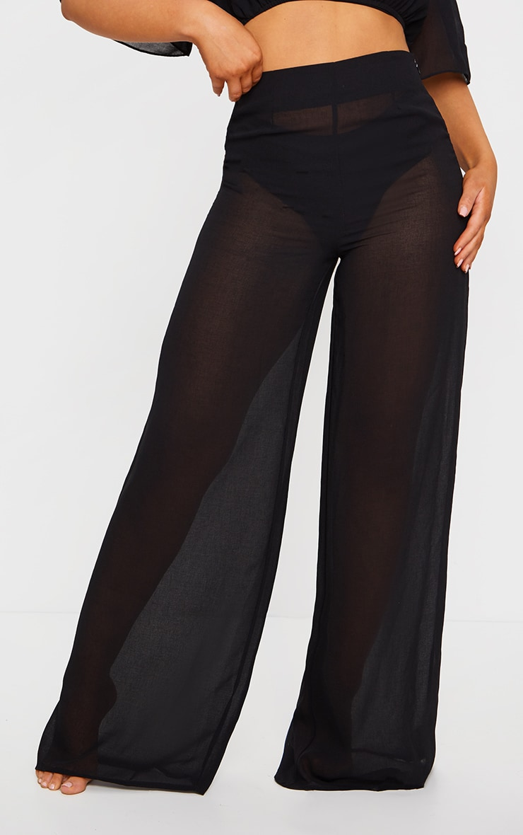 Black Linen Look Wide Leg Beach Pants 4