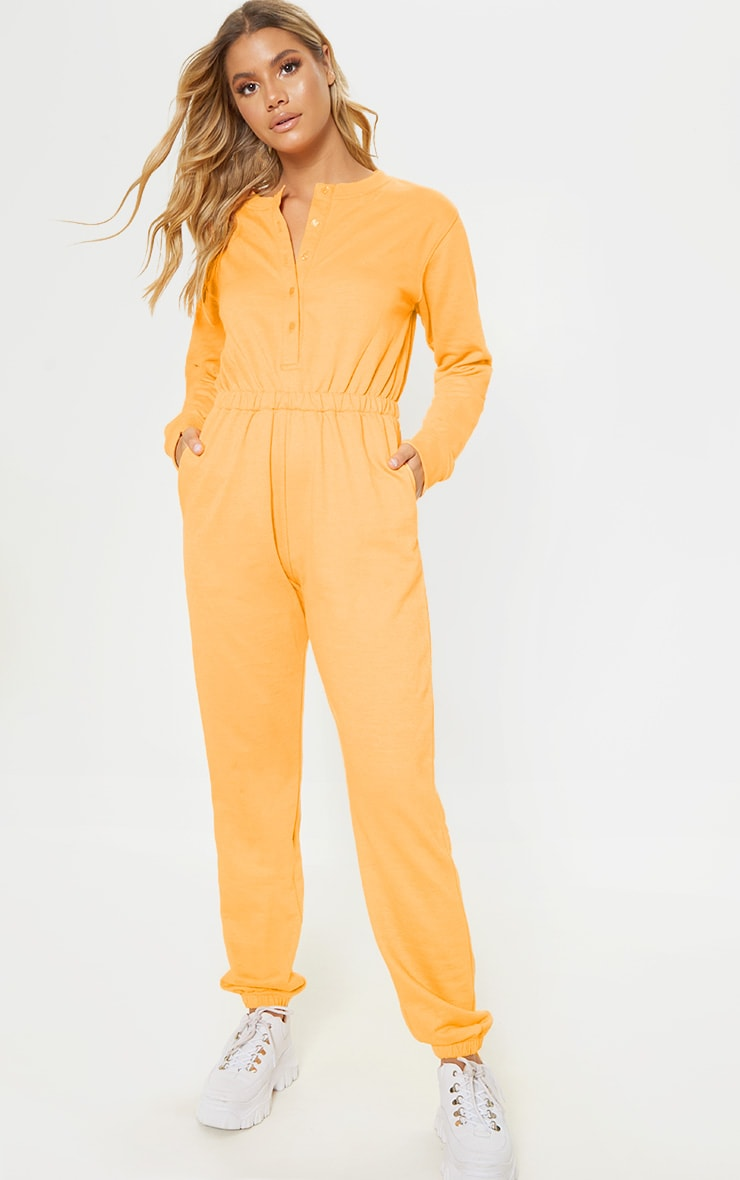 Tangerine Button Up Loop Back Jumpsuit 4