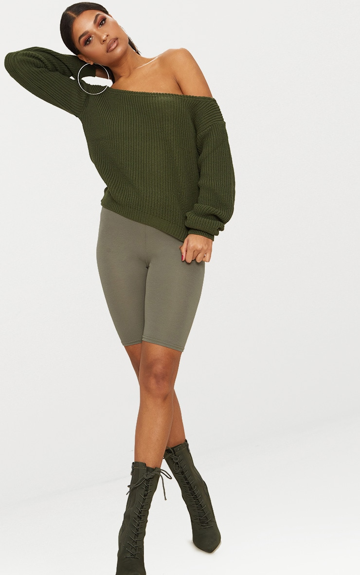 Khaki Off The Shoulder Crop Jumper 4