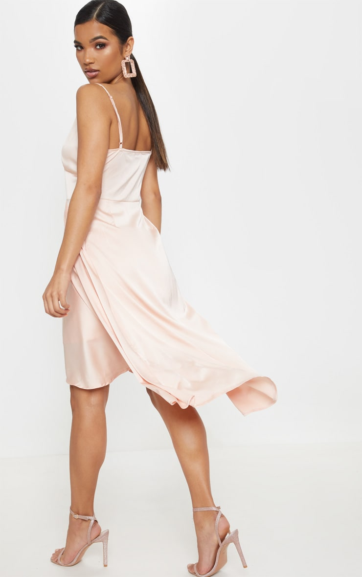 Blush Satin Strappy Layered Skater Midi Dress 2