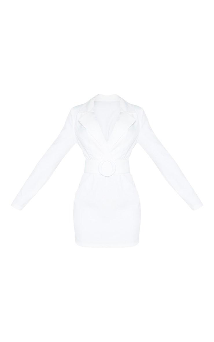 White Ring Belt Blazer Style Dress 3