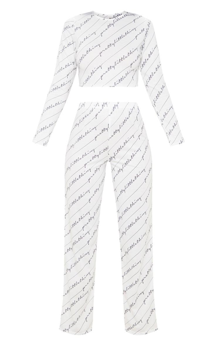 PRETTYLITTLETHING - Ensemble de pyjama blanc à écriture 3