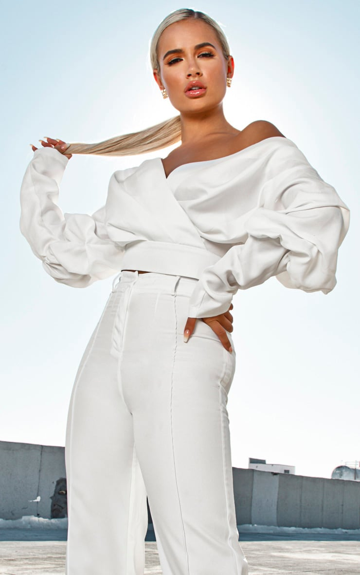 White Woven Puff Sleeve Crop Shirt