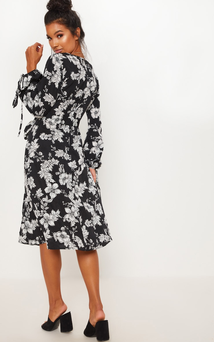 Black Tie Waist Floral Print Split Midi Dress 2