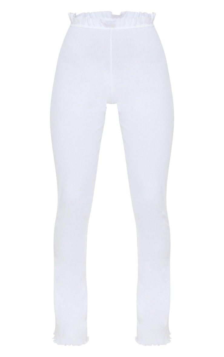 White Rib Frill Detail Wide Leg Pants 3