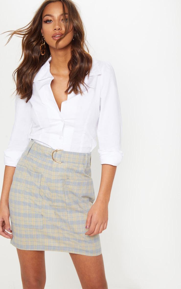 Navy Check Pocket Detail Mini Skirt