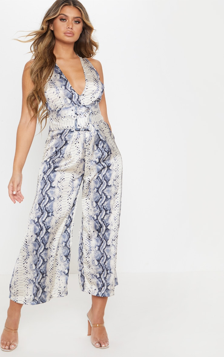 Grey Satin Snake Print Belt Culotte Jumpsuit 1
