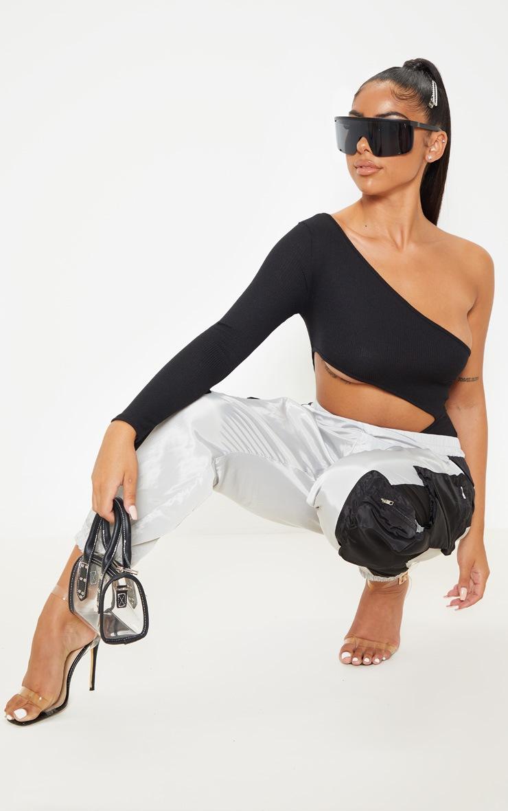 Petite Black Extreme Cut Out Asymmetric Long Sleeve Bodysuit 5