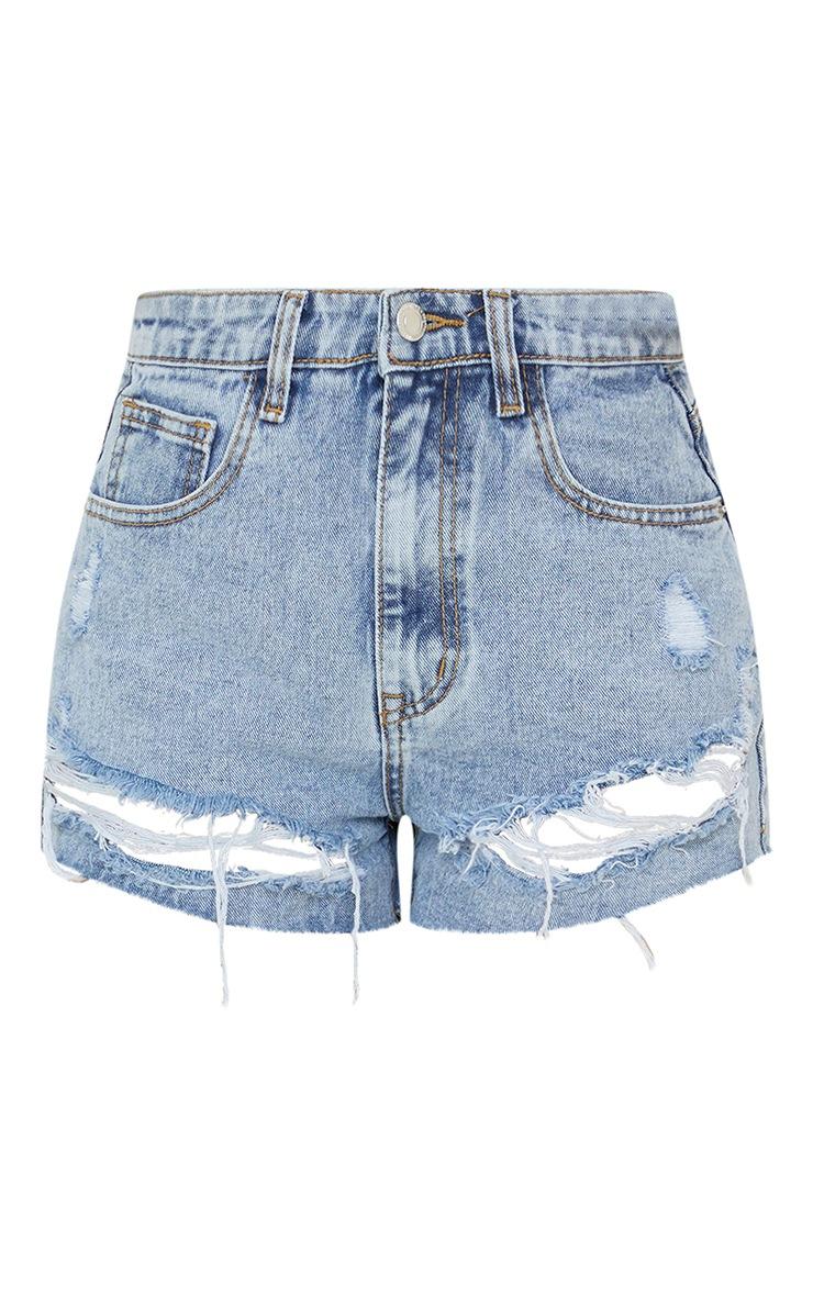 PRETTYLITTLETHING Light Blue Wash Ripped Hem Denim Shorts 6