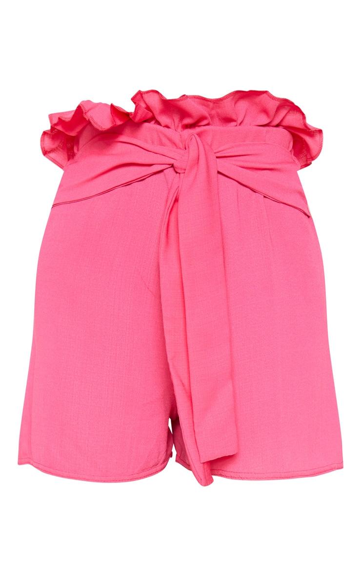 Hot Pink Woven Tie Waist Short  3
