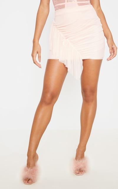 Blush Mesh Frill Detail Mini Skirt