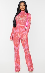 Petite Pink Floral Print Mesh Skinny Fit Flared Trousers 1