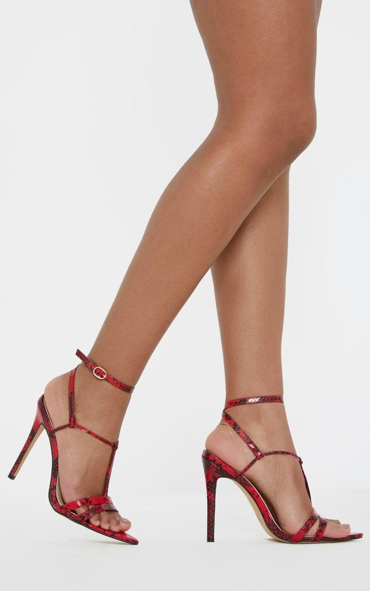 Sandales pointues rouge imprimé serpent à détail noeud 1