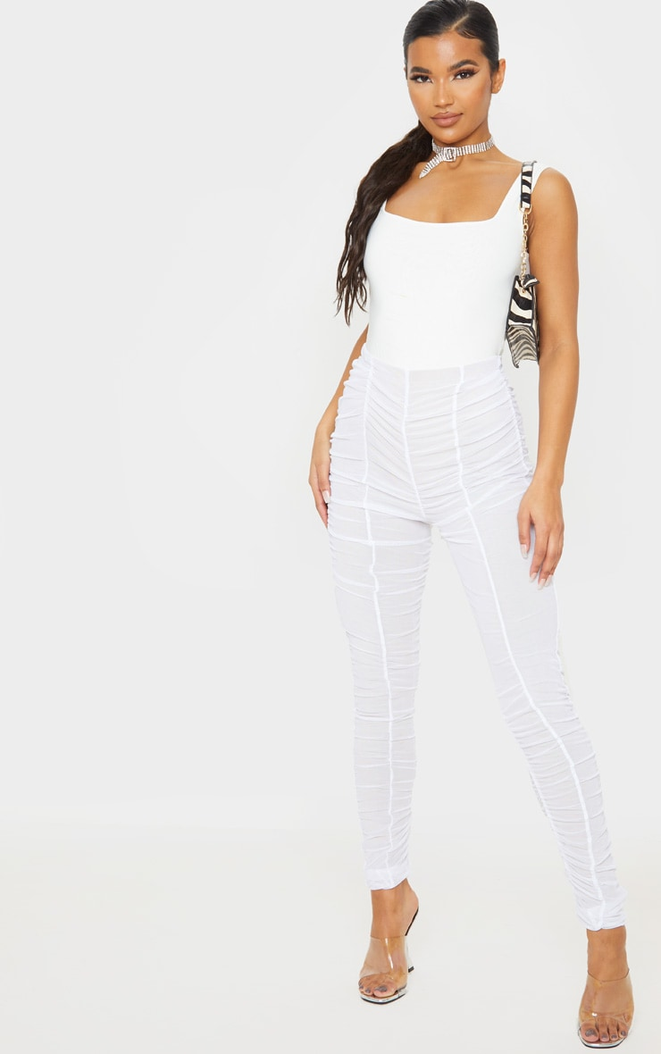 White Ruched Mesh Layered Pants 1