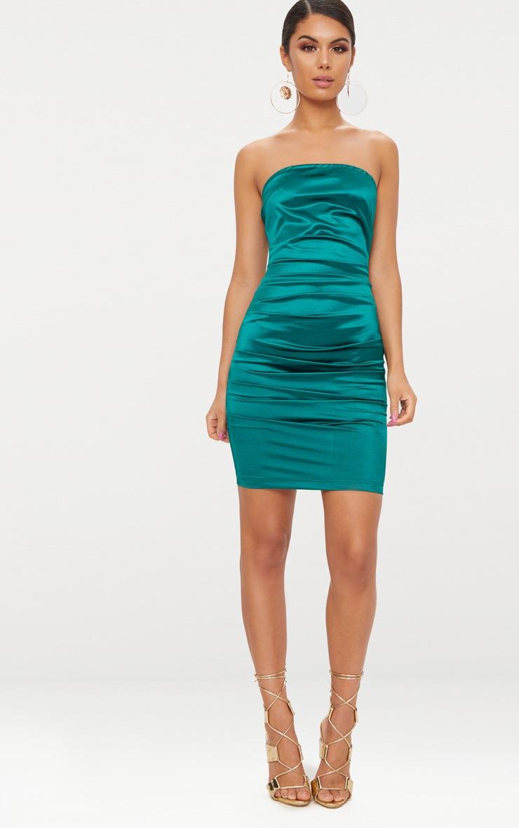 Emerald Green Bandeau Ruched Satin Bodycon Dress  4
