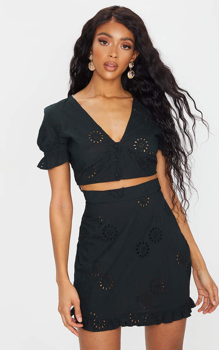 Black Embroidered Frill Hem Crop Top   PrettyLittleThing AUS