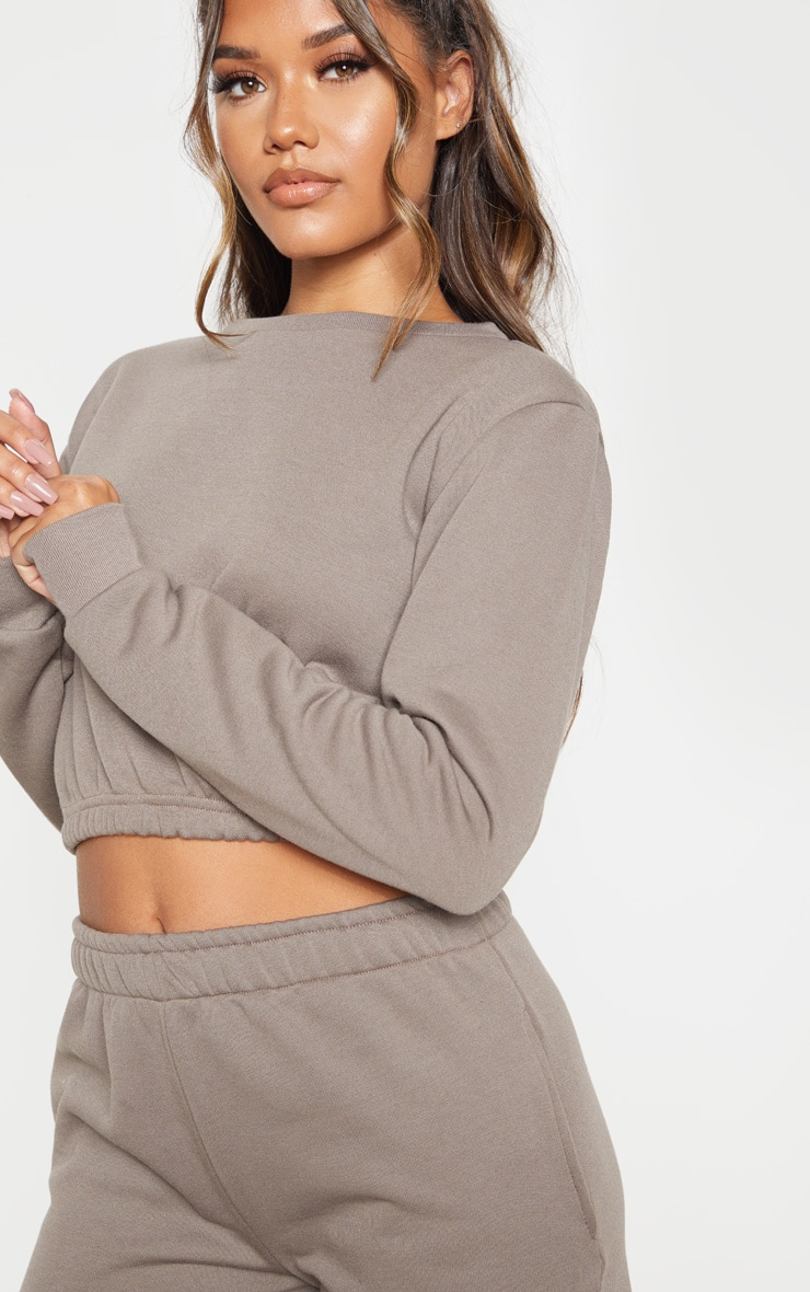 Grey Crew Neck Elasticated Hem Sweater 5