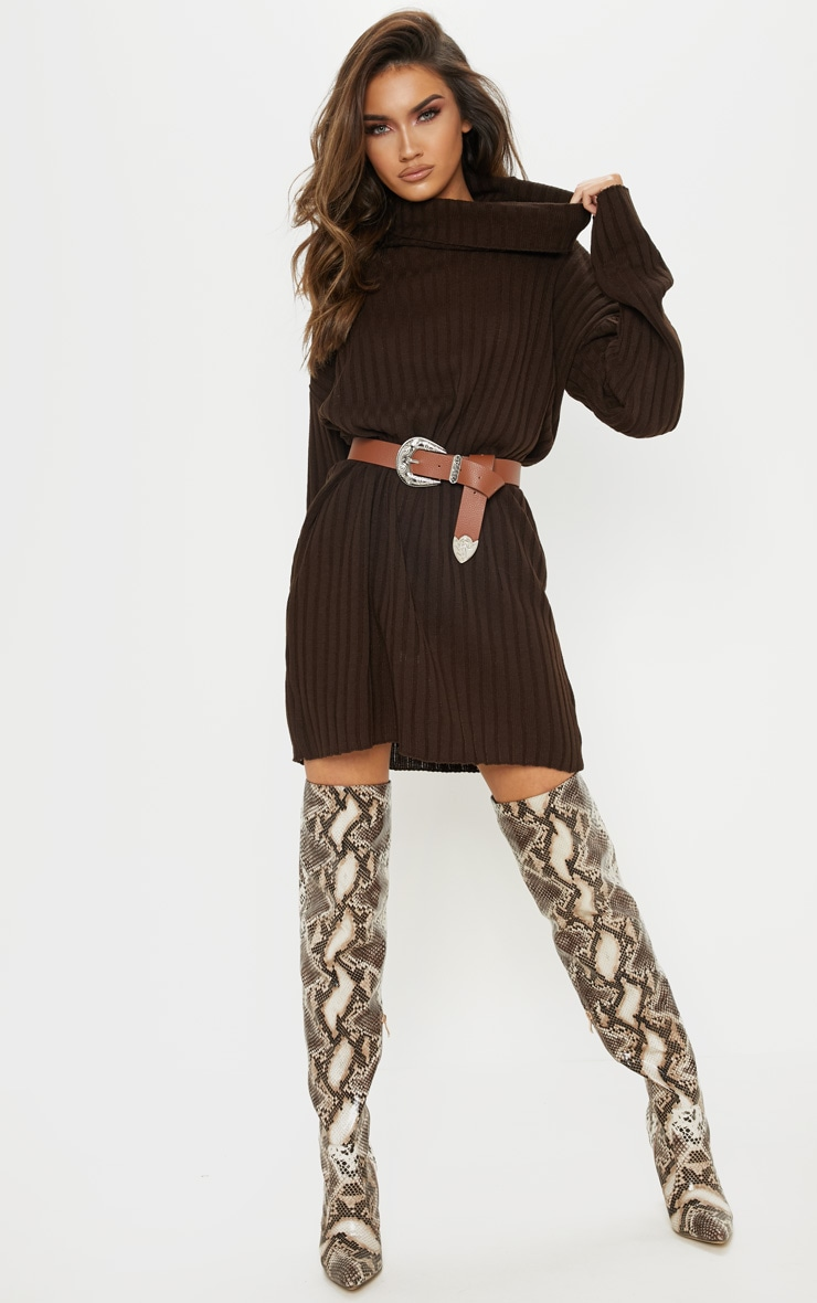 Brown High Neck Ribbed Knitted Dress  4