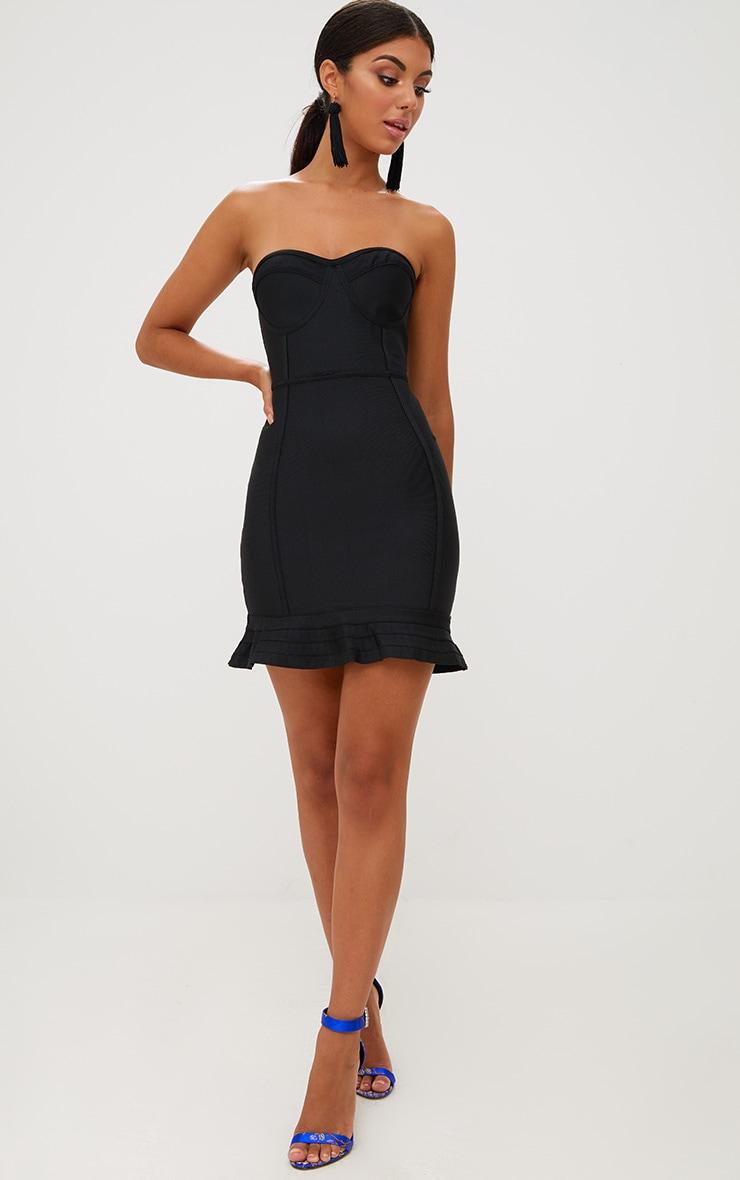 Black Bandage Frill Hem Bodycon Dress 3