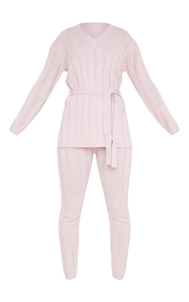 Rose Belted Longline Sweater And Legging Lounge Set 5