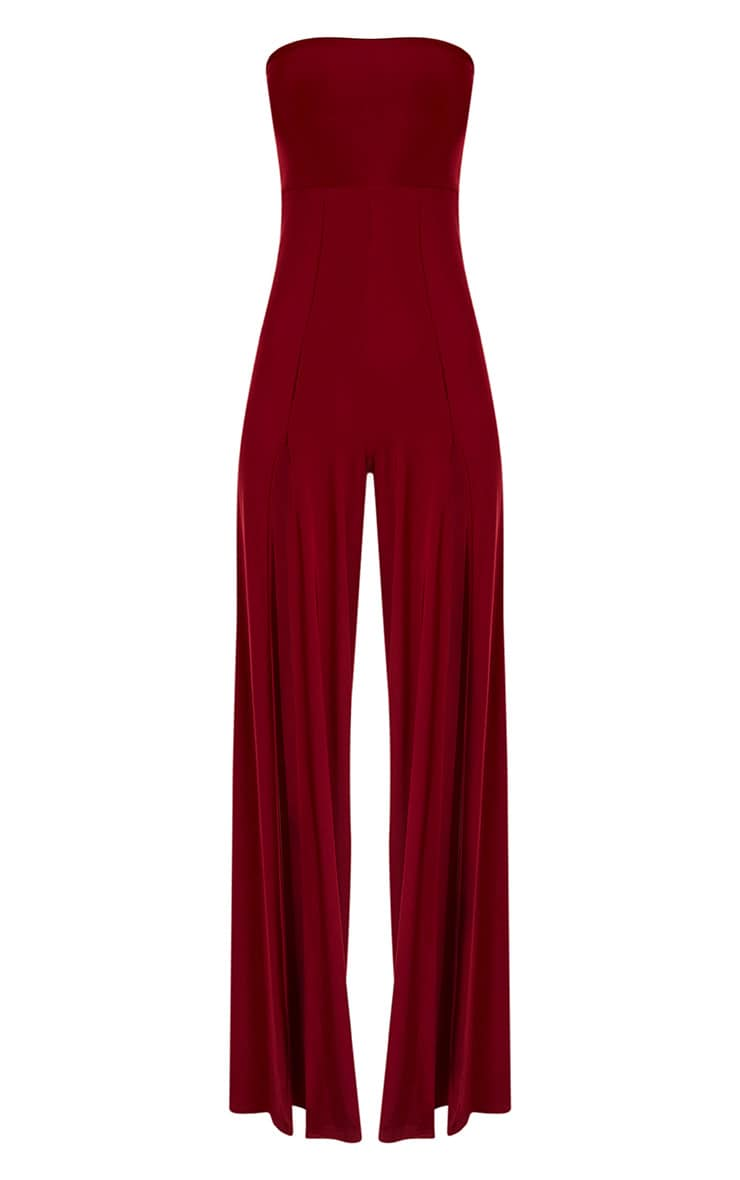 Tori Burgundy Front Thigh High Split Slinky Bandeau Jumpsuit 3
