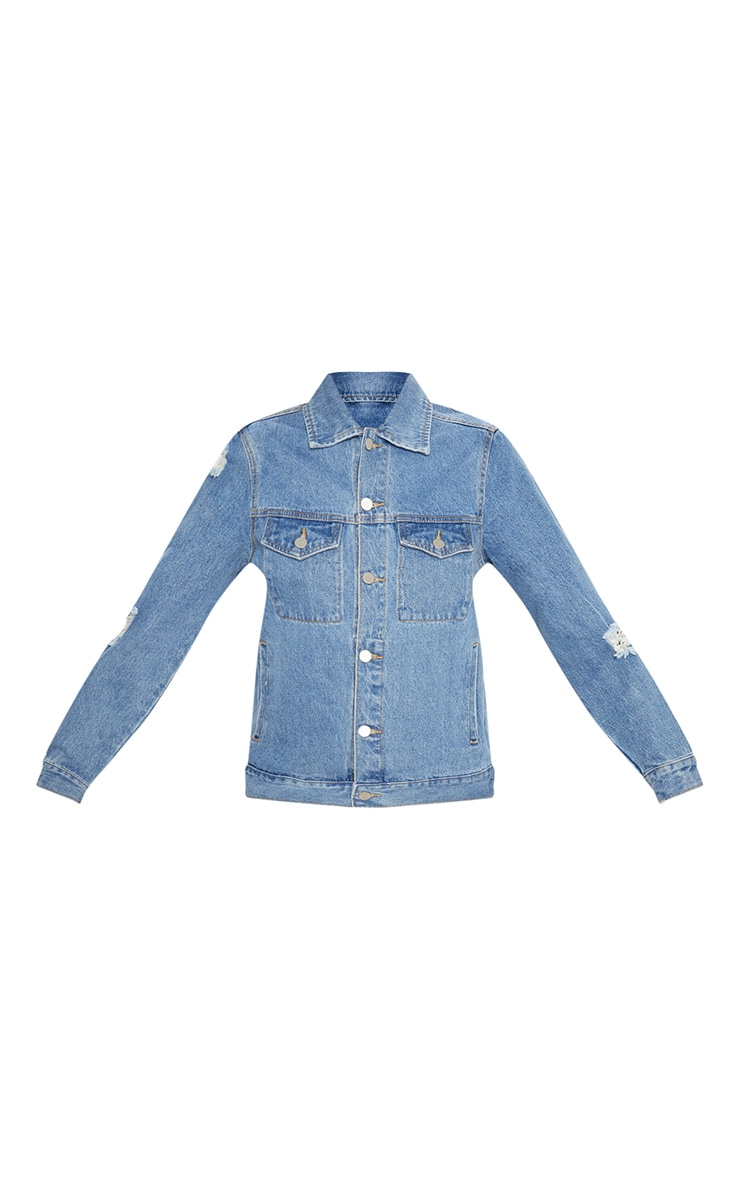 Light Wash Distressed Denim Jacket  4