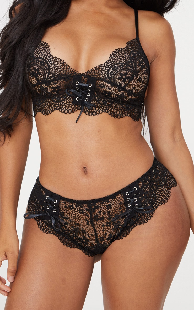 Black Eyelet Lace Up Scalloped Lace Knicker 1