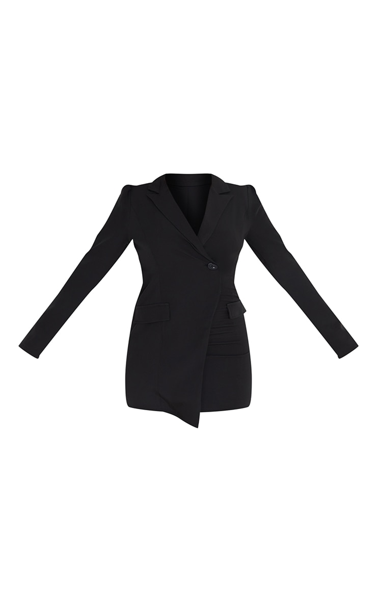 Black Long Sleeve Open Back Blazer Dress 5