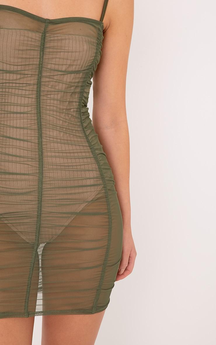 Anya Khaki Mesh Mini Dress 4