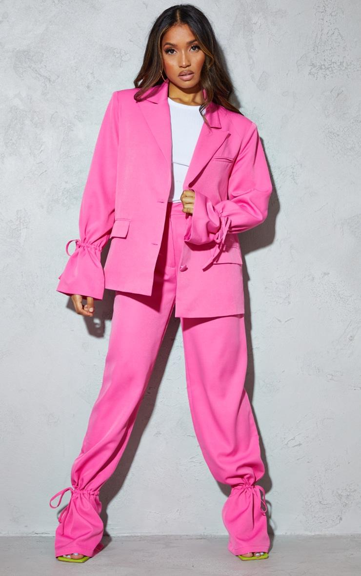 Petite Pink Oversized Tie Cuff Suit Blazer 3