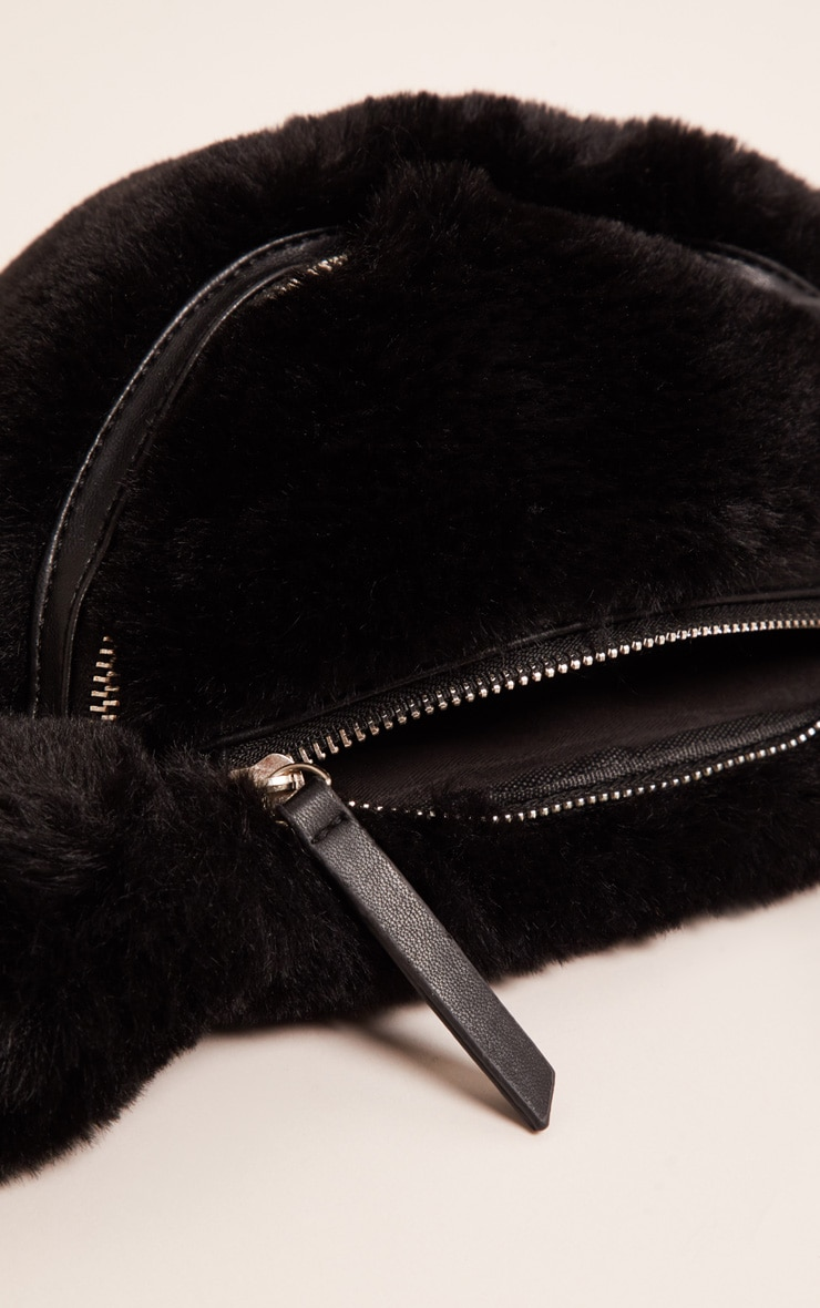 Black Faux Fur Front Bag 3