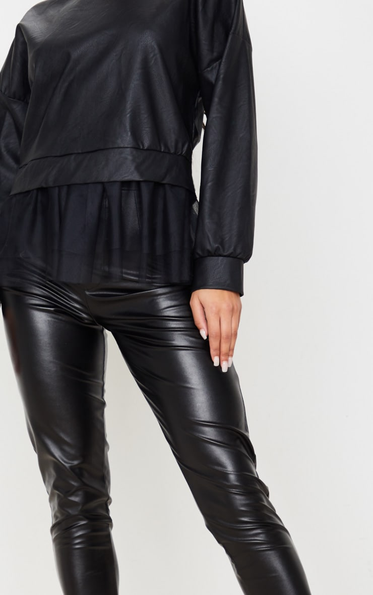 Black Faux Leather Tulle Peplum Long Top 6