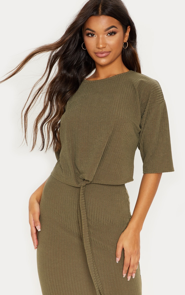 Khaki Rib Short Sleeve Tie Front Top