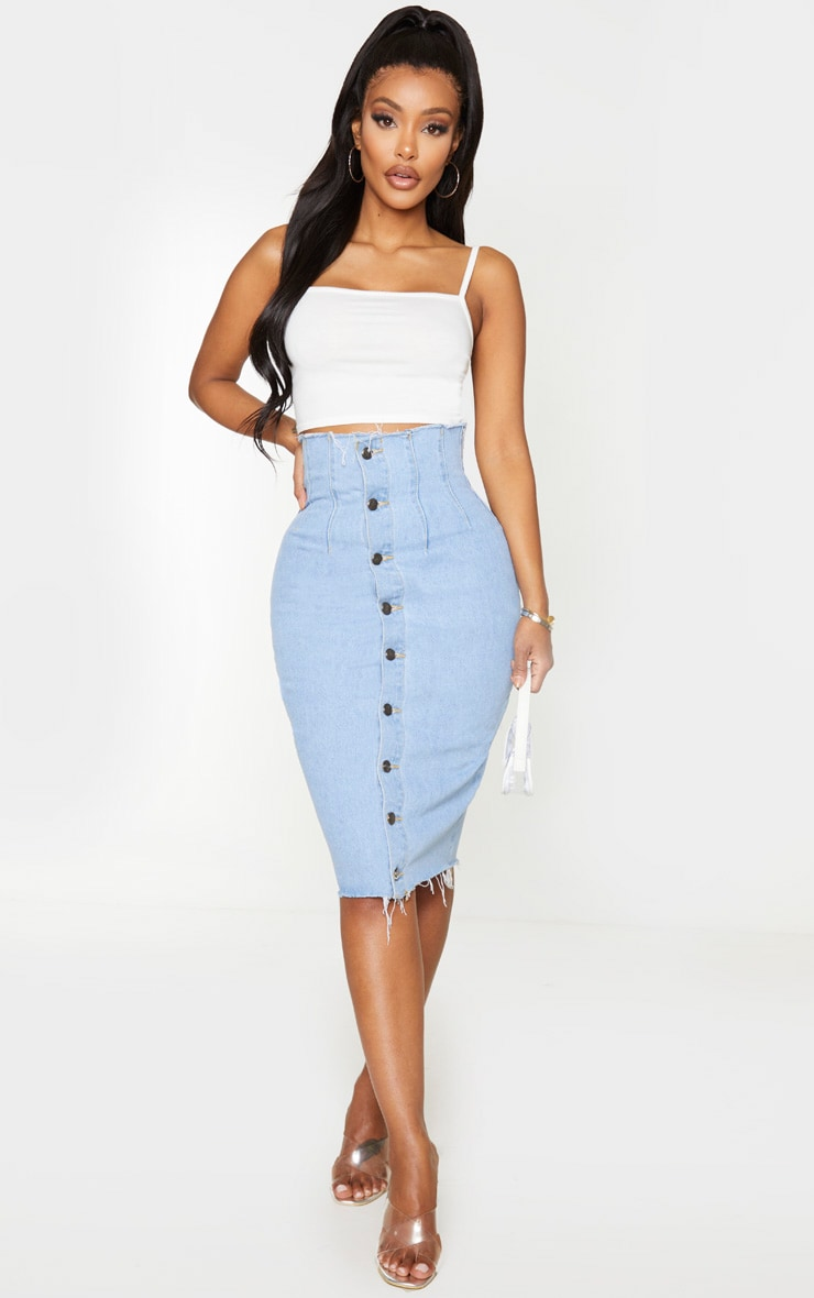 Shape Light Blue Button Front Seam Detail Denim Midi Skirt 1