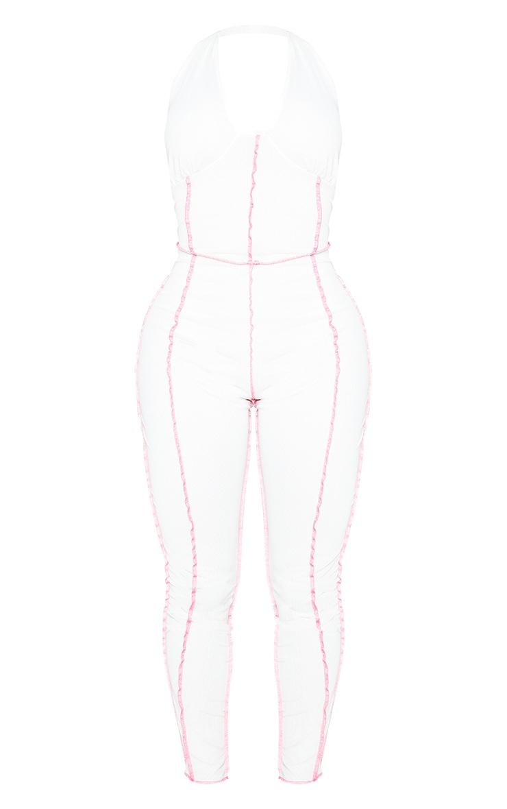 Shape White Mesh Halterneck Strappy Cup Detail Jumpsuit 5