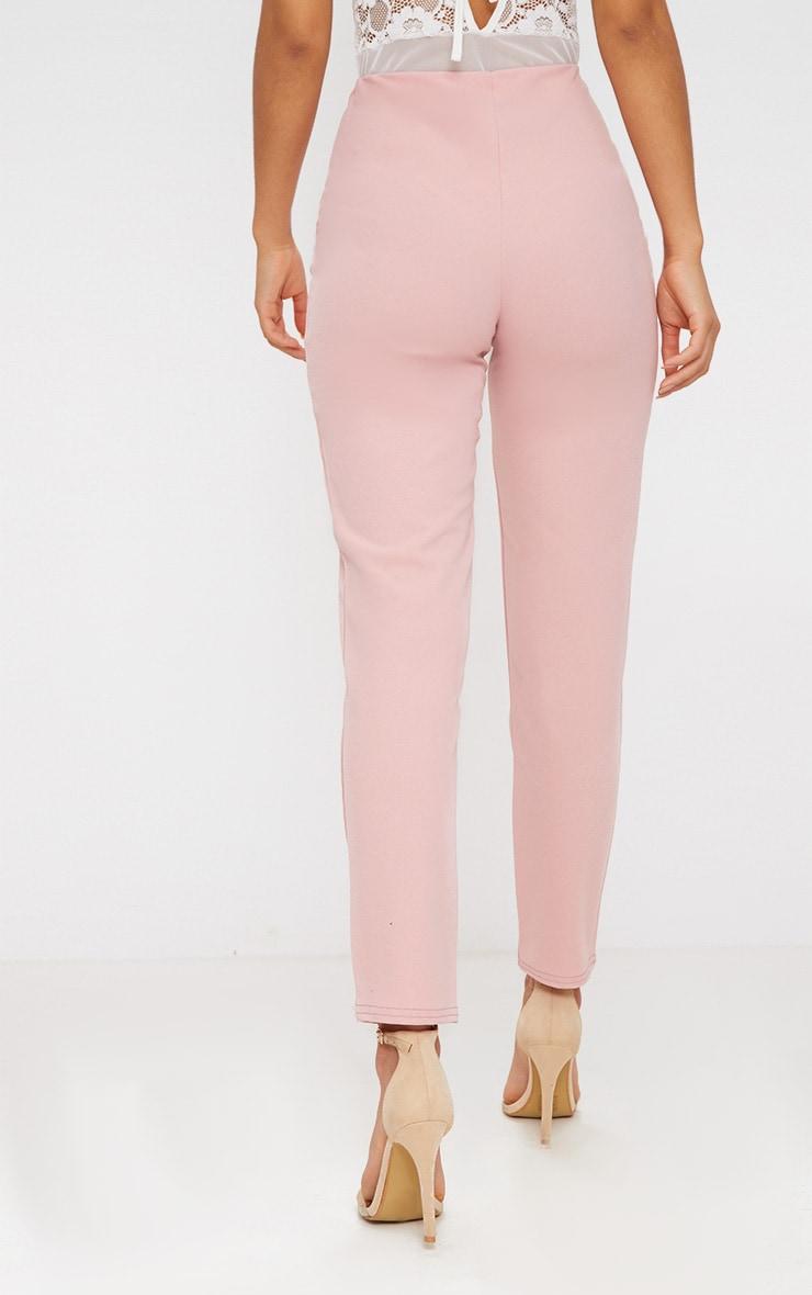Pantalon slim rose pastel en crêpe  4