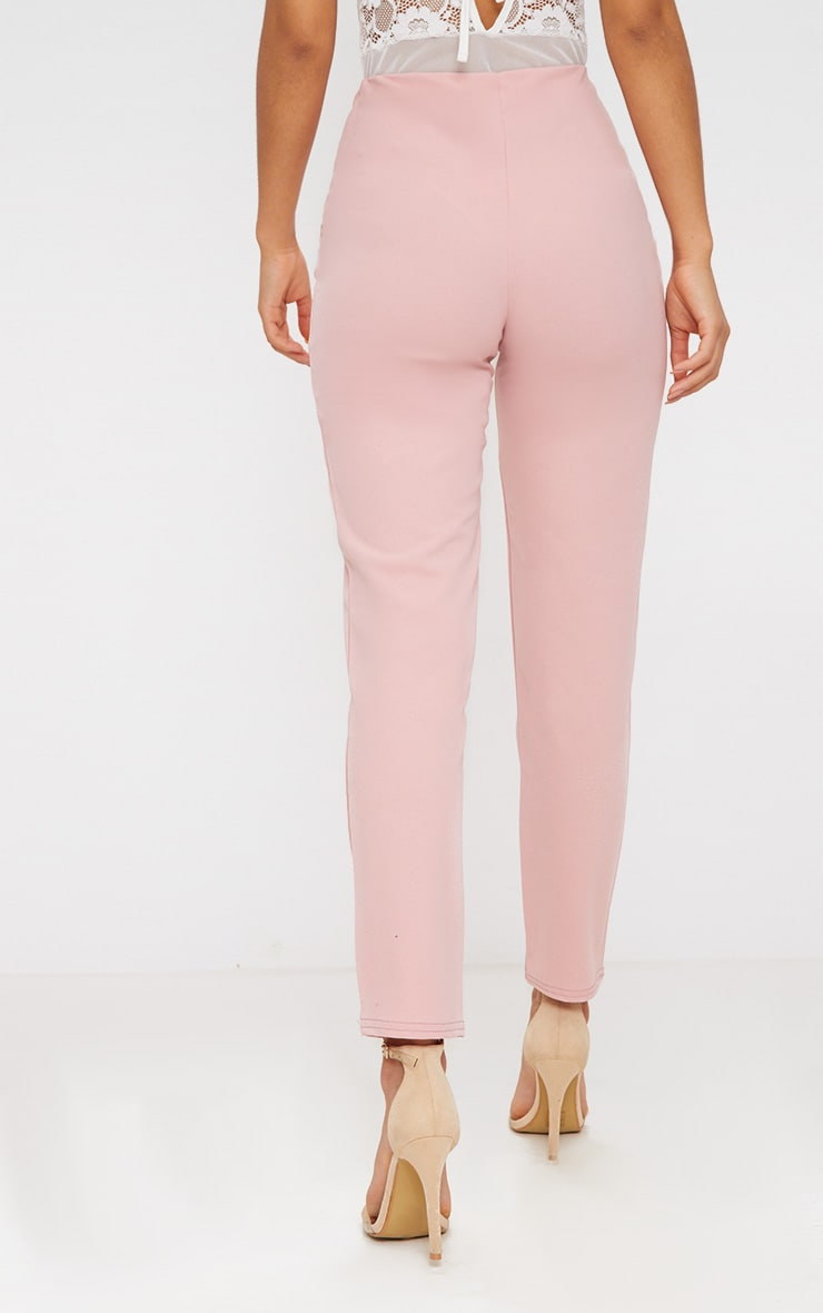 Pastel Pink Slim Leg Crepe Pants 4