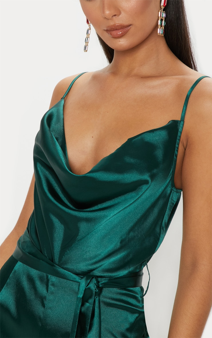 Emerald Green Cowl Neck Satin Tie Waist Jumpsuit 5