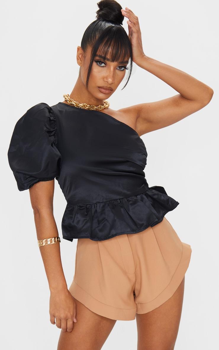 Black One Shoulder Puff Sleeve Peplum Hem Long Top 3